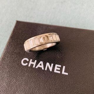 CHANEL - CHANEL ロゴ&ラインストーンリング silver