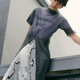 LE CIEL BLEU - Sheer Pleated Knit Dress