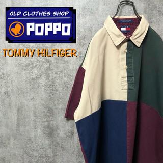 TOMMY HILFIGER - トミーヒルフィガー☆刺繍ロゴ半袖クレイジーパターンプルオーバーシャツ 90s