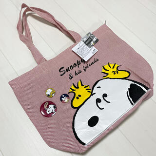 SNOOPY - ☆ スヌーピー☆ コットン トートバッグ エコバッグ 缶バッジ 付き♡