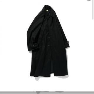 [POLYPLOID] LONG COAT C BLACK MELANGE (ステンカラーコート)