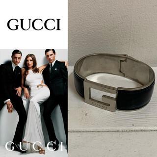 グッチ(Gucci)のGUCCI グッチ ITALY製 男女 Gロゴ メタル×レザー ブレスレット(ブレスレット)