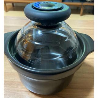 ハリオ(HARIO)の★HARIO★フタがガラスのご飯釜 萬古焼 炊飯 土鍋(炊飯器)