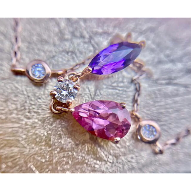 ルジアダ✨トルマリンアメジスト&ダイヤモンドステーションペンダントネックレス レディースのアクセサリー(ネックレス)の商品写真
