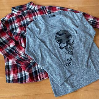 アズールバイマウジー(AZUL by moussy)の140 ネルシャツ ロンT 2着セット(Tシャツ/カットソー)