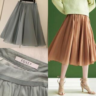 FOXEY - ♡美品♡ FOXEY シアーサーキュラー スカート 40 ミント