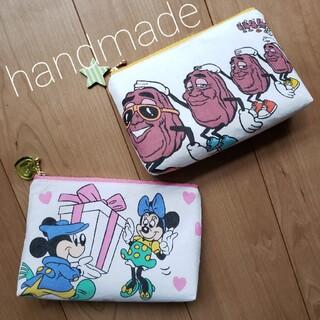 ディズニー(Disney)のハンドメイド ミッキー&ミニー  カリフォルニアレーズン 化粧ポーチ 通帳ケース(ポーチ)