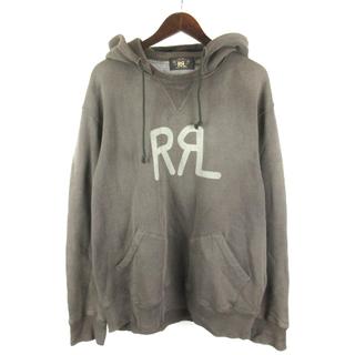 RRL - RRL プルオーバー パーカー 長袖 USED加工 ロゴ チャコールグレー XL