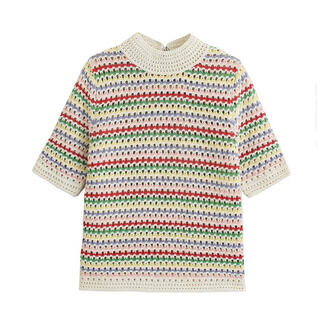 ZARA - かぎ編み ボーダー カラフル 透かし編み ニット 半袖 ザラ dholic
