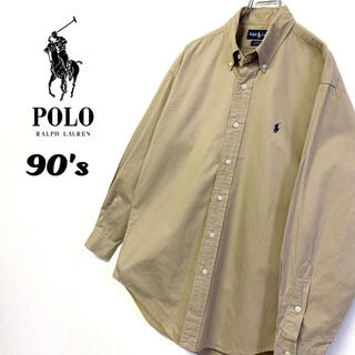 POLO RALPH LAUREN - 美品 90's古着 Ralph Lauren コットンBDシャツ 刺繍ロゴ