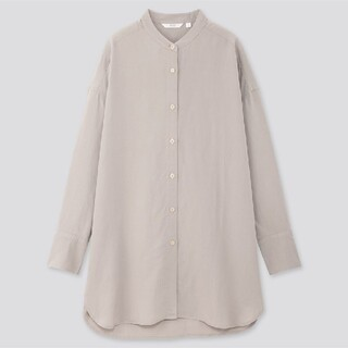 UNIQLO - リネンブレンドスタンドカラーシャツ