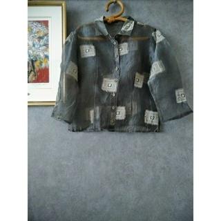 ミラーワーク刺繍 オーガンジー シアー ブラウス