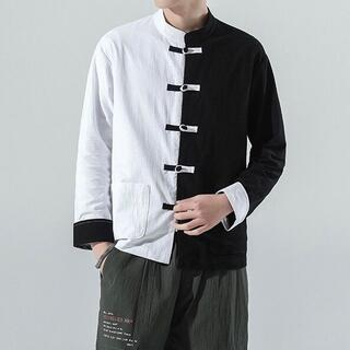 チャイナシャツ クレイジーパターン モノトーン ユニセックス フリーサイズ