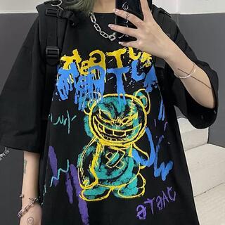 ビッグプリント Tシャツ 病みくま 黒 テディベア ユニセックス ビッグサイズ