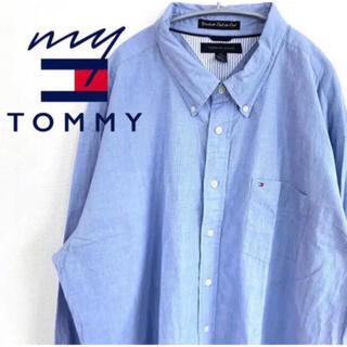 トミーヒルフィガー(TOMMY HILFIGER)の【大人気♪】トミーヒルフィガー 長袖シャツ ブラックロゴ刺繍 F11(ポロシャツ)