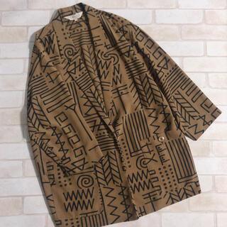 サンタモニカ(Santa Monica)のブラウン 茶色 幾何学模様 エスニック ヴィンテージ 薄手ジャケット 羽織り(テーラードジャケット)