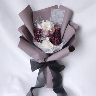 パープル系 ドライフラワー 花束 ブーケ ギフト ラッピングブーケ プリザ(ドライフラワー)