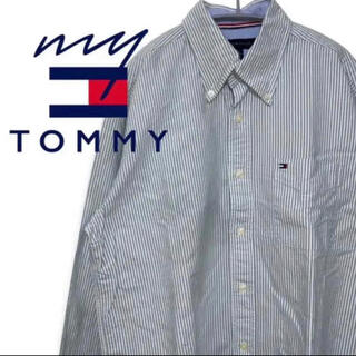 トミーヒルフィガー(TOMMY HILFIGER)の【大人気♪】トミーフィルガー ストライプ シャツ 長袖シャツ ブラックロゴ F6(ポロシャツ)