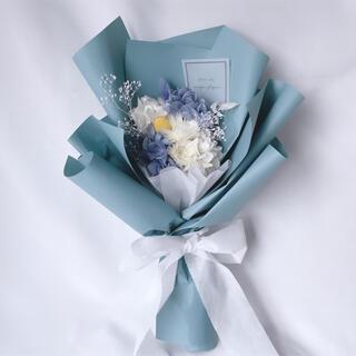 ブルー系 ドライフラワー ラッピングブーケ 花束 ブーケ ギフト プリザ(ドライフラワー)