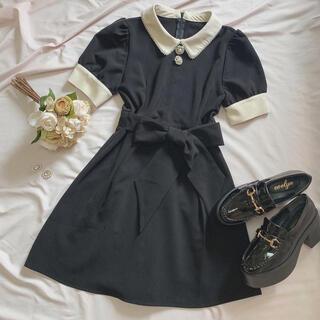 evelyn - evelyn パールライン襟ワンピース ブラック