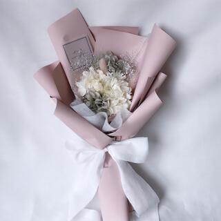 ピンクグレー系 ドライフラワー ラッピングブーケ 花束 ブーケ ギフト プリザ(ドライフラワー)