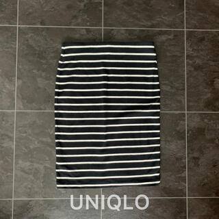 ユニクロ(UNIQLO)のユニクロ♡タイトスカート♡ブラック×ホワイト(ひざ丈スカート)