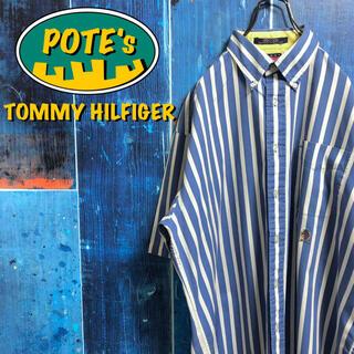 トミーヒルフィガー(TOMMY HILFIGER)の【トミーヒルフィガー】オールド刺繍ロゴ半袖ボールドストライプシャツ 90s(シャツ)