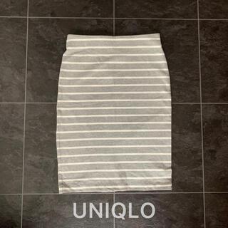 ユニクロ(UNIQLO)のユニクロ♡タイトスカート♡グレー×ホワイト(ひざ丈スカート)