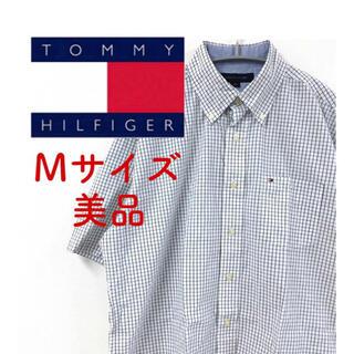 トミーヒルフィガー(TOMMY HILFIGER)の【美品】TOMMY HILFIGER 半袖シャツ チェック M 紺 L9 FT(シャツ)