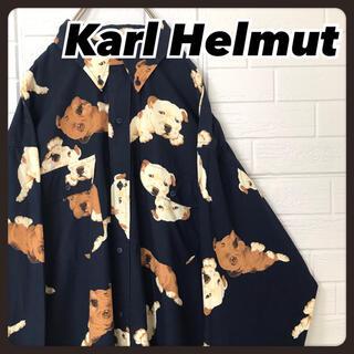 Karl Helmut - ☆希少デザイン☆ カールヘルム 長袖 シャツ ボタンダウン 総柄 犬 ネイビー