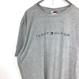 トミーヒルフィガー(TOMMY HILFIGER)の〇トミーヒルフィガー☆半袖Tシャツ☆XL☆グレー☆ロゴプリント☆I12〇(Tシャツ/カットソー(半袖/袖なし))