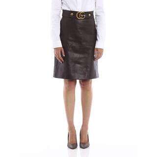 Gucci - GUCCI✨GGマーモント ダークブラウン レザースカート 正規品