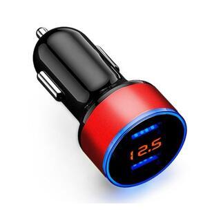 シガーソケット USB 充電器 ダブルポート LED表示 電圧計付き(その他)