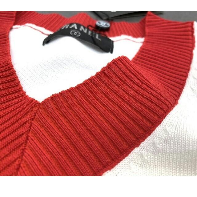 CHANEL(シャネル)のコントラストニットVネック半袖Tシャツ レディースのトップス(ニット/セーター)の商品写真