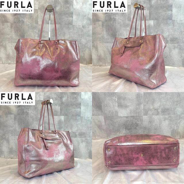 Furla(フルラ)の【FURLA】フルラ 希少 SIBILLA シルバーピンク 牛革 トートバッグ レディースのバッグ(トートバッグ)の商品写真