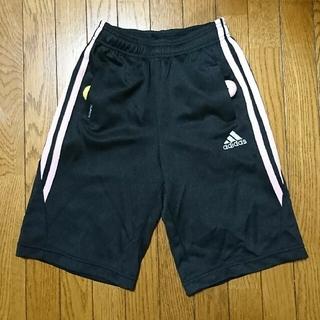 アディダス(adidas)のハーフ pants ジャージ パンツ 三本ライン 黒 ピンク 120㎝ (パンツ/スパッツ)