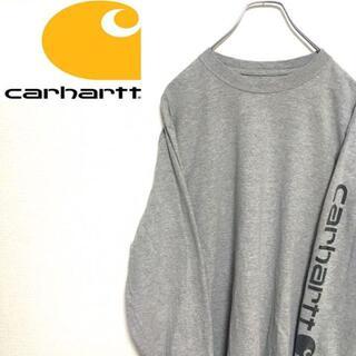 カーハート(carhartt)の●カーハート● アメリカ古着 ワンポイントロゴ 長袖Tシャツ グレー メンズ(Tシャツ/カットソー(七分/長袖))