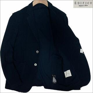 エディフィス(EDIFICE)のJ5235 美品 エディフィス パイル テーラードジャケット ネイビー系 46(テーラードジャケット)