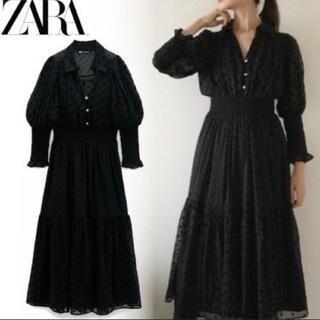 ZARA - ZARA zara ザラ スイスドット柄ミディ丈ワンピース ブラック S