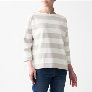 MUJI (無印良品) - MUJI(無印良品)太番手天竺編みボートネック七分袖Tシャツ