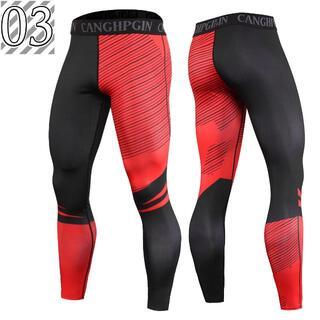スポーツタイツ メンズ 加圧 トレーニング ランニング インナー 03(ウェア)