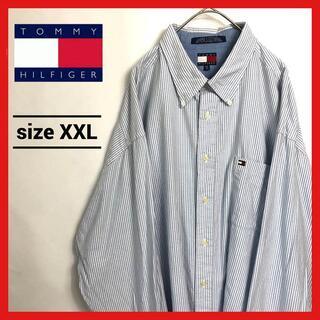 トミーヒルフィガー(TOMMY HILFIGER)の90s 古着 トミーヒルフィガー BDシャツ オーバーサイズ ストライプ XXL(シャツ)