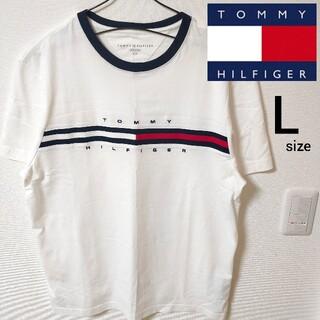 トミーヒルフィガー(TOMMY HILFIGER)の未使用 美品 トミーヒルフィガー 半袖Tシャツ カットソー ホワイト メンズ L(Tシャツ/カットソー(半袖/袖なし))