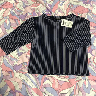 アナップ(ANAP)のANAP アナップ ストライプ五分袖ショート丈リブトップス(Tシャツ(半袖/袖なし))