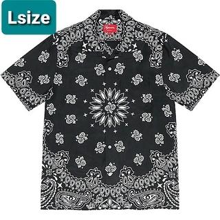 シュプリーム(Supreme)のsupreme Bandana Silk S/S Shirt 黒(Tシャツ/カットソー(半袖/袖なし))