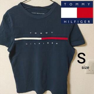 トミーヒルフィガー(TOMMY HILFIGER)の美品 ネイビー トミーヒルフィガー 半袖Tシャツ カットソー メンズ Sサイズ(Tシャツ/カットソー(半袖/袖なし))