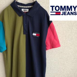 トミーヒルフィガー(TOMMY HILFIGER)のtommy jeans クレイジーパターン 半袖 ポロシャツ トミージーンズ S(ポロシャツ)