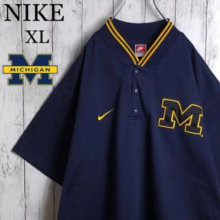 NIKE - 【ミシガン大学】 ナイキ 刺繍ロゴ ゲームシャツ XL 紺 ビッグシルエット