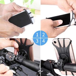 スマートフォン 自転車 バイク 固定 バンド 360度 取り付け簡単(その他)