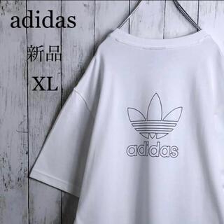 【新品】【両面デザイン】 アディダス 刺繍ロゴ Tシャツ XL 白 トレフォイル